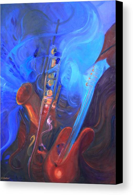 Abstract Canvas Print featuring the painting Music For Saxy by Gail Salitui