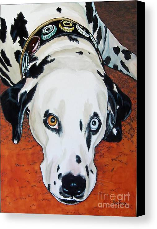 Animal Canvas Print featuring the painting My Cock-eyed Dog by Gail Zavala
