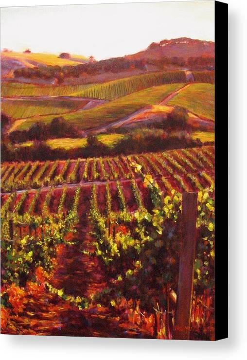 Wine Painting Canvas Print featuring the painting Napa Carneros Summer Evening Light by Takayuki Harada