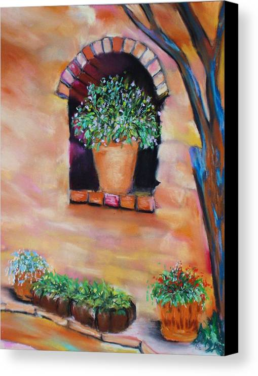 Courtyard Canvas Print featuring the painting Nash's Courtyard by Melinda Etzold