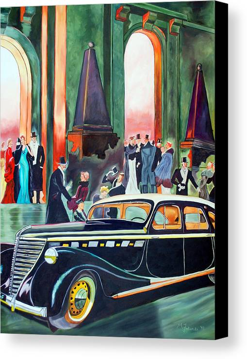 Car Canvas Print featuring the painting Night At The Theater by Margaret Fortunato