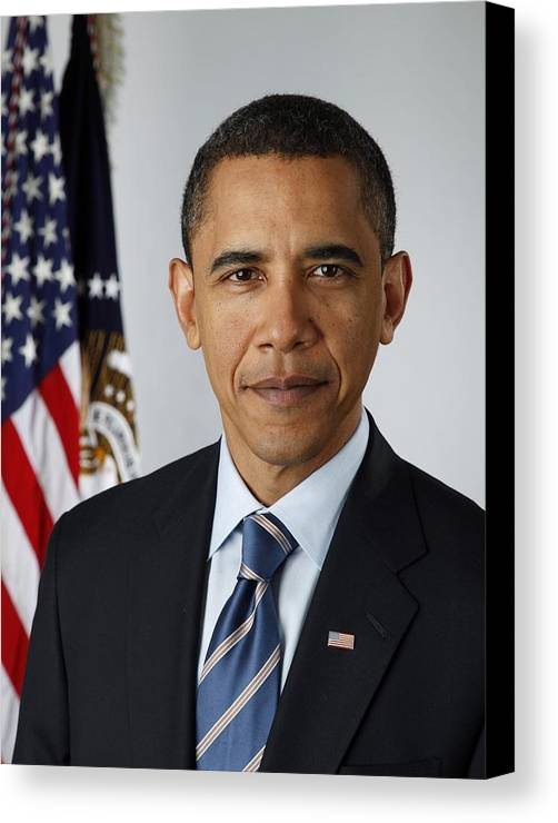 History Canvas Print featuring the photograph Official Portrait Of President Barack by Everett