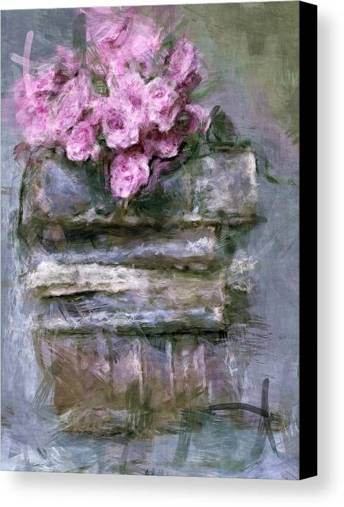 Old Canvas Print featuring the digital art Old Books And Pink Roses by Tanya Gordeeva