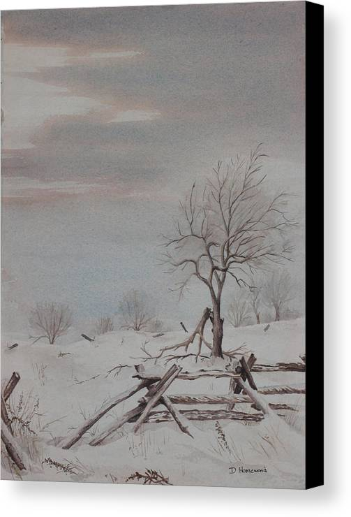 Rail Fence Canvas Print featuring the painting Old Friends by Debbie Homewood