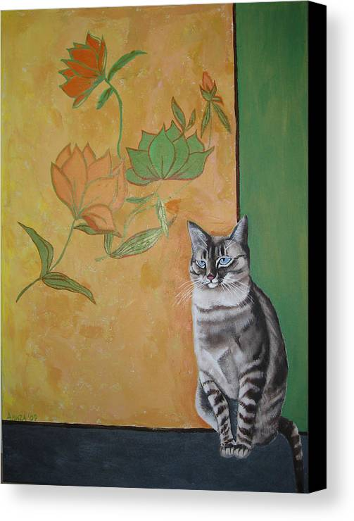Cat Canvas Print featuring the painting Oomka by Aliza Souleyeva-Alexander
