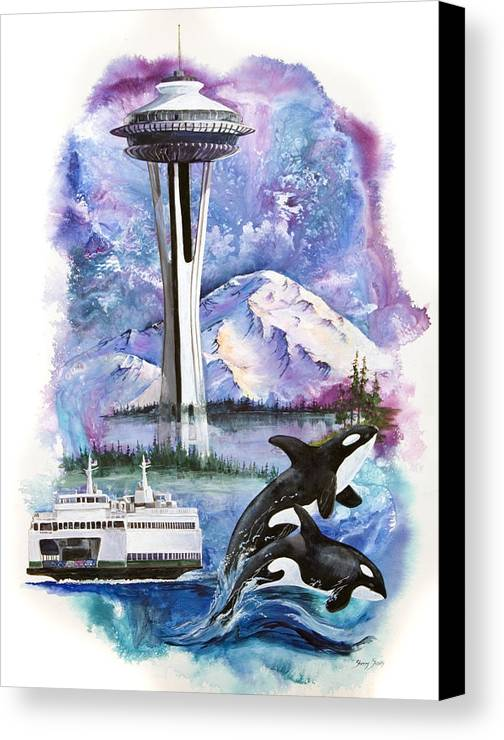 Mount Rainier Canvas Print featuring the painting Pacific Northwest Montage by Sherry Shipley