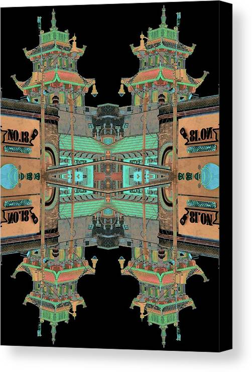 China Town Canvas Print featuring the photograph Pagoda Tower Becomes Chinese Lantern 1 Chinatown Chicago by Marianne Dow