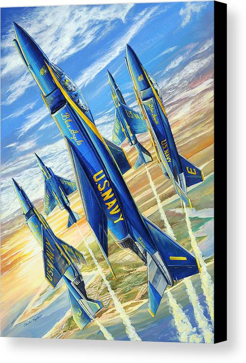 Blue Angels Canvas Print featuring the painting Phantom Angels by Charles Taylor