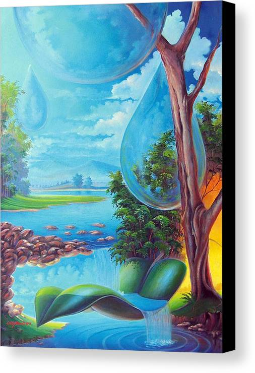 Canvas Print featuring the painting Planeta Agua by Leomariano artist BRASIL