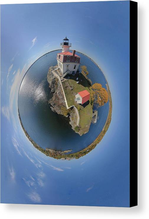 Pomham Rocks Canvas Print featuring the photograph Pomham Rocks Lighthouse Little Planet by Christopher Blake