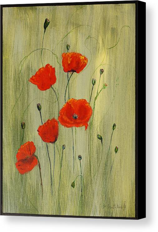 Flowers Canvas Print featuring the painting Poppies by Irena Grant-Koch