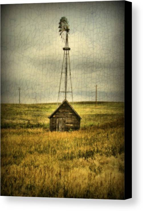 Windmill Canvas Print featuring the photograph Prairie Pump by Tingy Wende