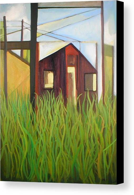 Abstract Canvas Print featuring the painting Purple House In A Green Field by Ron Erickson