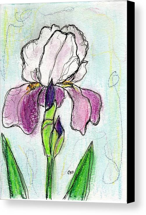 Iris Canvas Print featuring the painting Purple Iris by Christopher O'Kelley