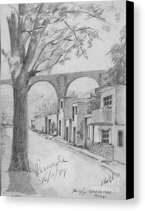 Anthony Van Dyk Canvas Print featuring the drawing Queretaro, Mx - 1970 by Dorothy Hilde