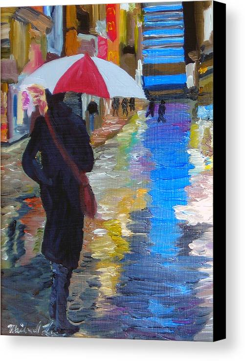 Umbrella Canvas Print featuring the painting Rainy New York by Michael Lee