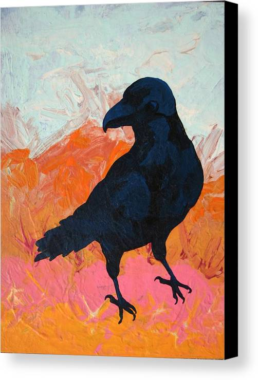 Raven Canvas Print featuring the painting Raven I by Dodd Holsapple