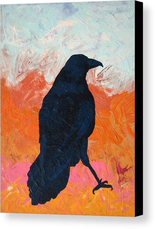 Raven Canvas Print featuring the painting Raven II by Dodd Holsapple