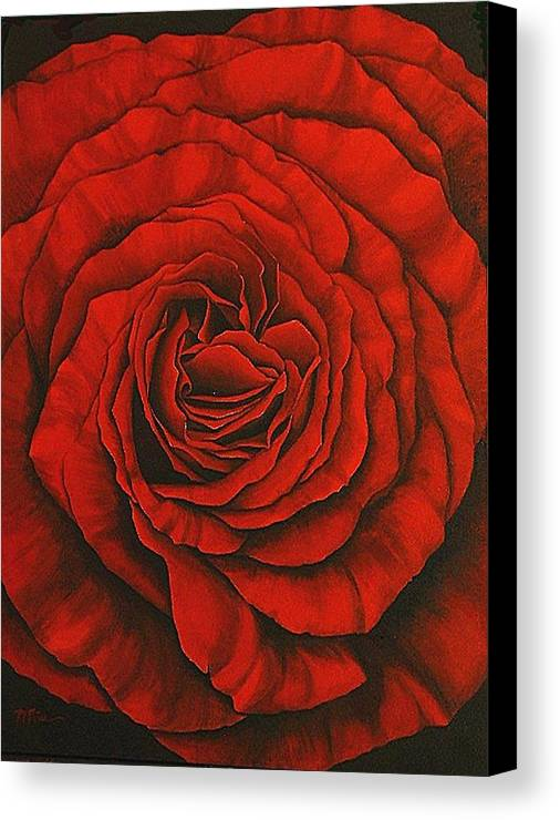 Red Canvas Print featuring the painting Red Rose II by Rowena Finn