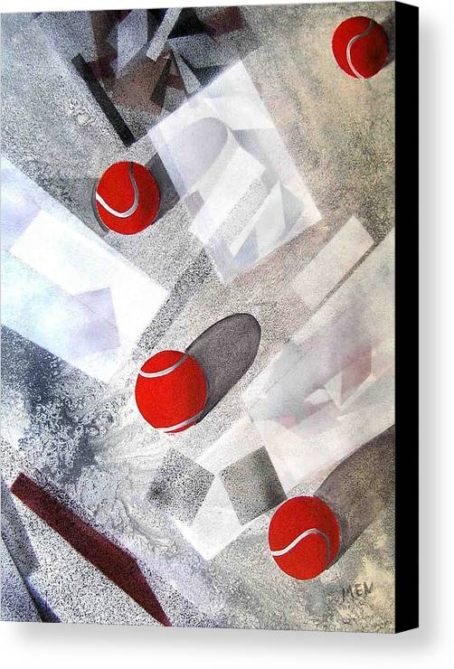 Tennis Balls Canvas Print featuring the painting Red Tennis Balls On White Sand by Evguenia Men