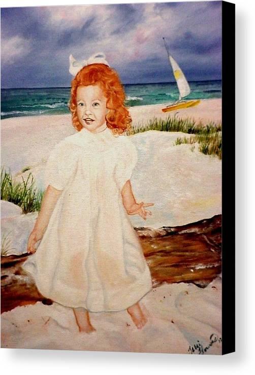 Beach Canvas Print featuring the painting Redhead On Beach by Terri Kilpatrick
