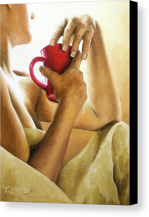 Nude Canvas Print featuring the painting Reflections 3 by Trisha Lambi