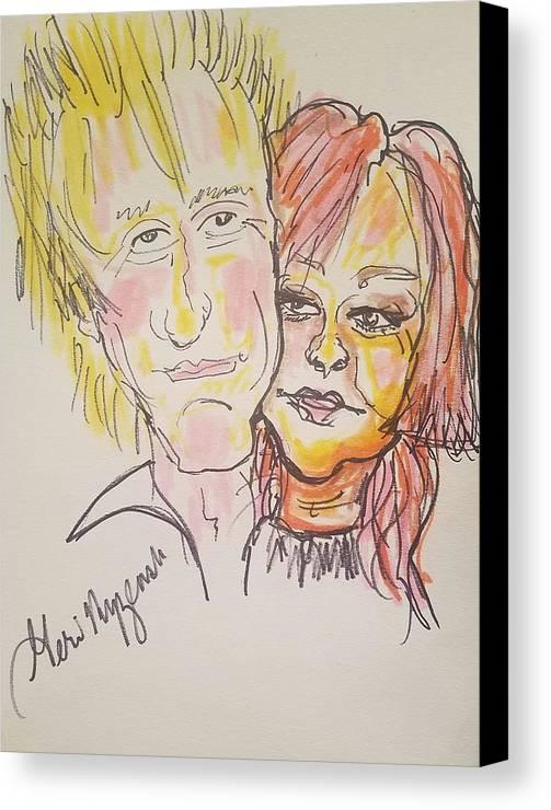 Rod Stewart Canvas Print featuring the drawing Rod Stewart And Cyndi Lauper Tour 2017 by Geraldine Myszenski