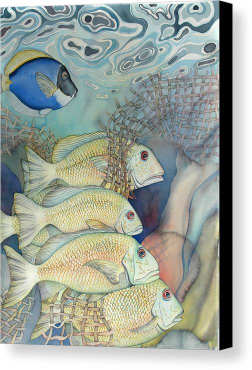 Sealife Canvas Print featuring the painting Rose Island II by Liduine Bekman