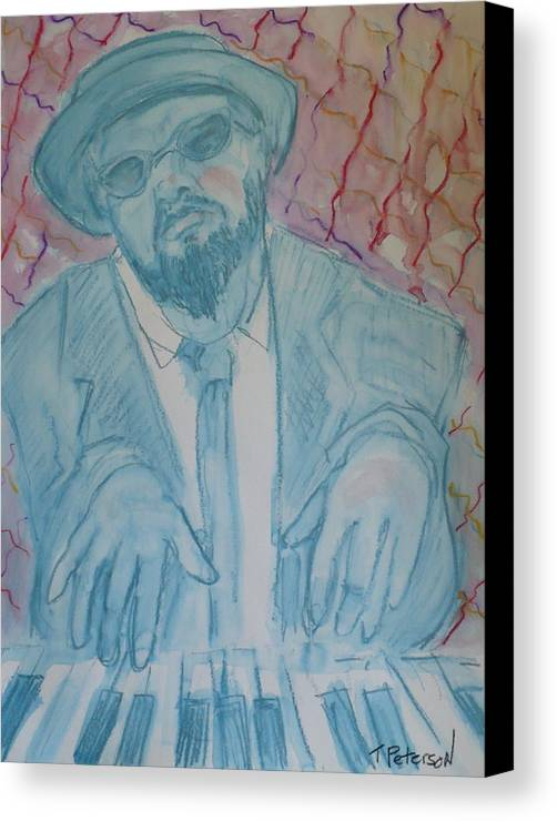 Thelonious Monk Canvas Print featuring the painting Round Midnight by Todd Peterson