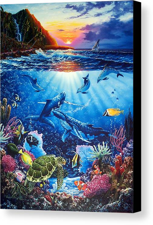 Whales Canvas Print featuring the painting Sacred Waters by Daniel Bergren