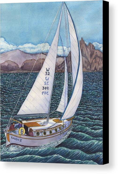 Sailboat Canvas Print featuring the painting Sailing by Catherine G McElroy