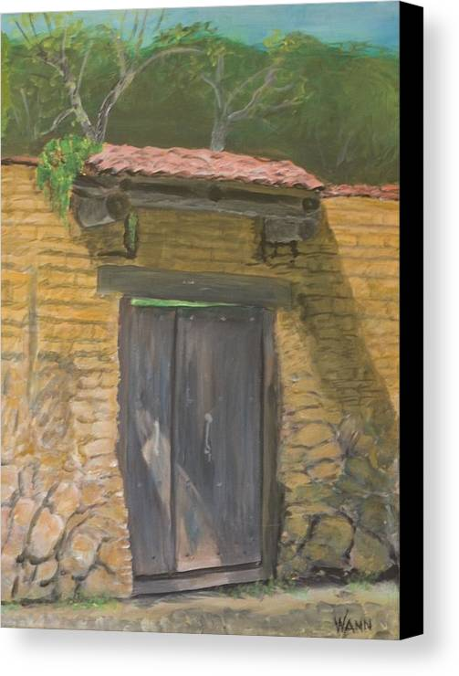 Buildings Canvas Print featuring the painting San Sebastian Garden Door by Anita Wann
