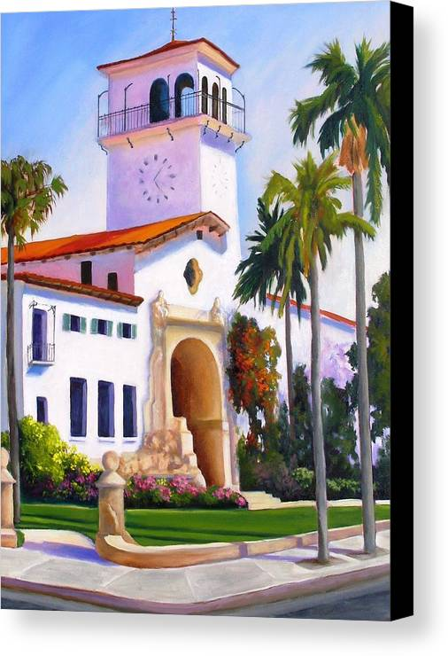 Architecture Canvas Print featuring the painting Santa Barbara Court House by Dorothy Nalls