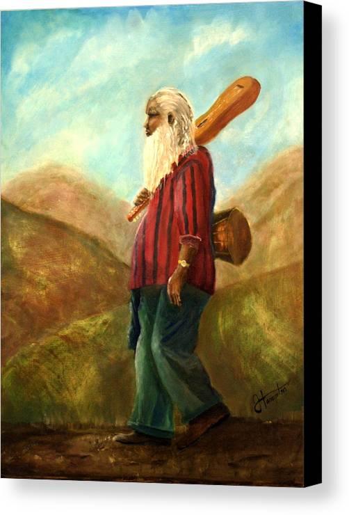 Portrait Canvas Print featuring the painting Santa Fe Sam by Jack Hampton