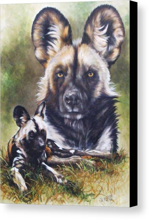 Wild Dogs Canvas Print featuring the mixed media Scoundrel by Barbara Keith