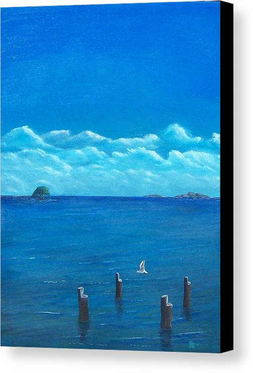 Seascape Canvas Print featuring the painting Seagull Seascape IIi by Tony Rodriguez