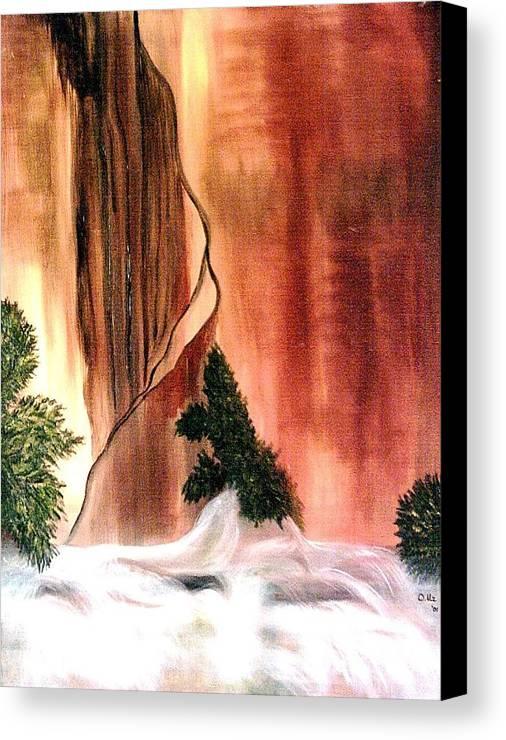 Waterfall Canvas Print featuring the painting Sedona's Waterfall by Ofelia Uz