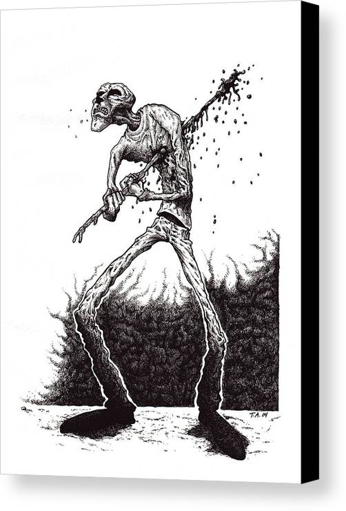 Dark Canvas Print featuring the drawing Self Inflicted by Tobey Anderson