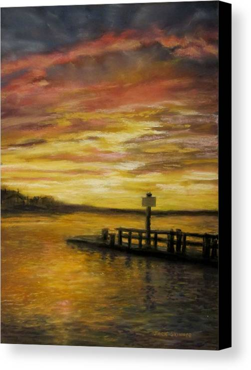 Sunset Canvas Print featuring the painting Sesuit Harbor At Sunset by Jack Skinner
