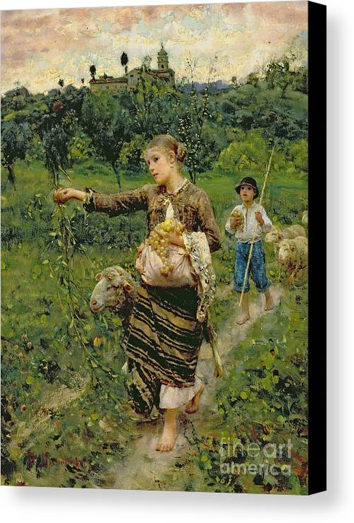 Shepherdess Canvas Print featuring the painting Shepherdess Carrying A Bunch Of Grapes by Francesco Paolo Michetti