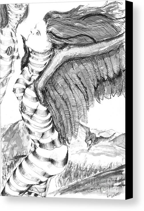 Surreal Canvas Print featuring the drawing Silent Flight by Ron Bissett