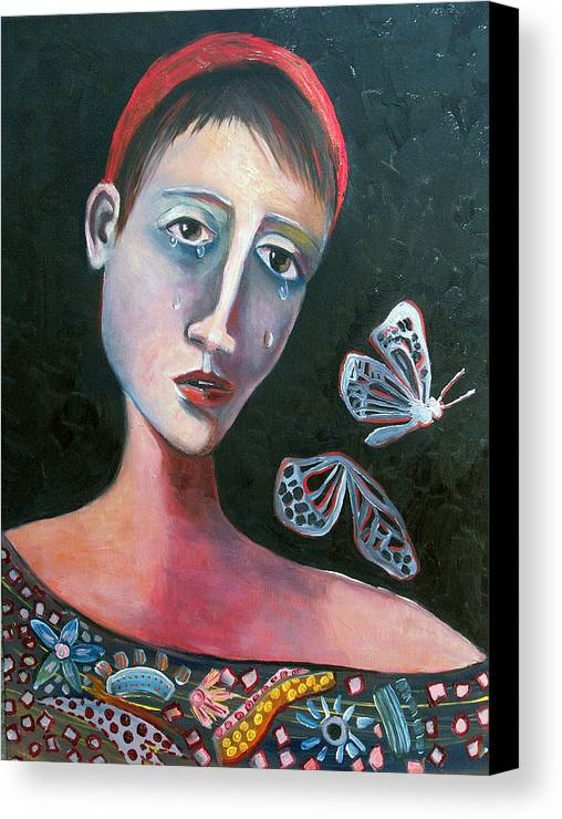 Butterfly Girl Red Sad Crying Pinks Reds Blues Canvas Print featuring the painting Skeleton Butterfly by Niki Sands
