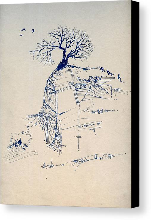 Joan Kamaru Canvas Print featuring the drawing Sketch 7 by Joan Kamaru