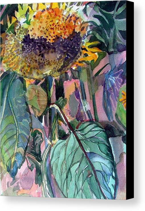 Sunflower Canvas Print featuring the painting Sleepy Sunflower by Mindy Newman