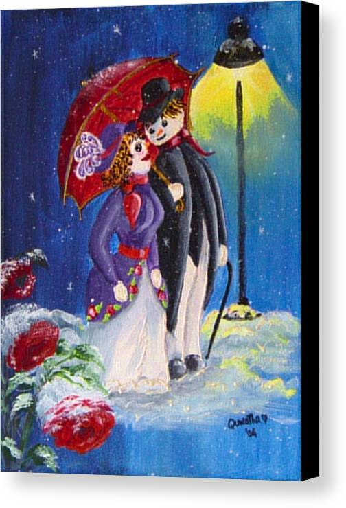Snow Canvas Print featuring the painting Snow Couple by Quwatha Valentine