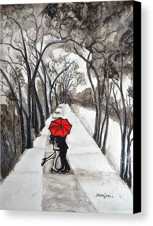Snow kiss love valentine yupo red umbrella trees landscape couple figures romance pathways clouds dark paper