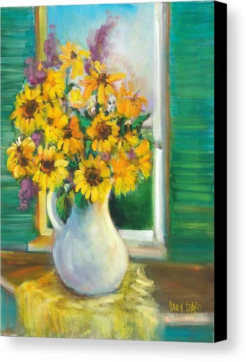 Flowers Canvas Print featuring the painting Spring Daisies by Sally Seago