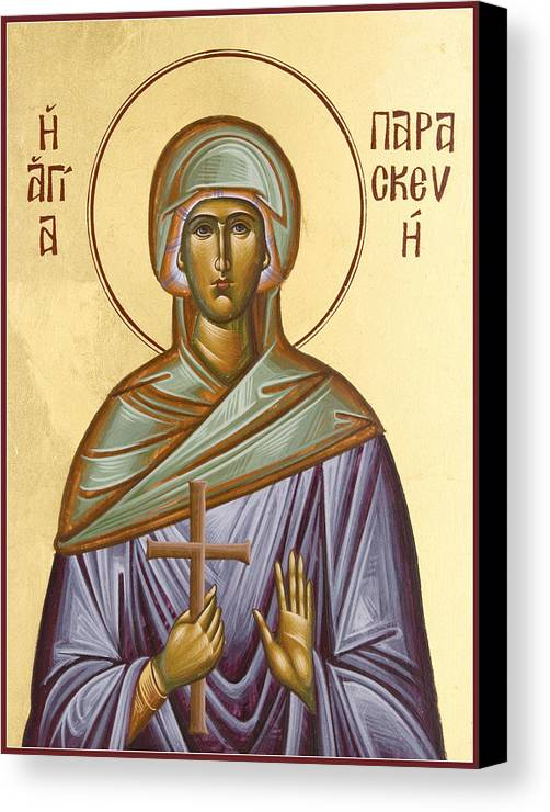 Icon Canvas Print featuring the painting St Paraskevi by Julia Bridget Hayes