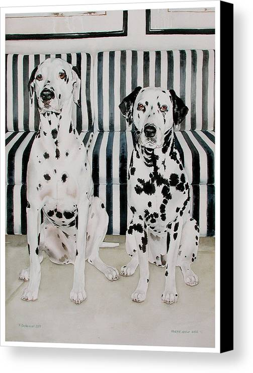 Portrait Canvas Print featuring the painting Stanley And Stelle by Eileen Hale