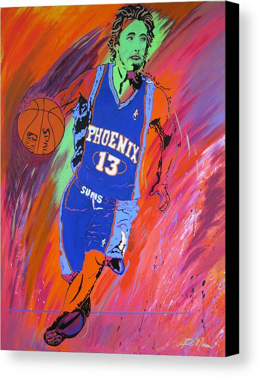 Steve Nash Paintings Canvas Print featuring the painting Steve Nash-vision Of Scoring by Bill Manson